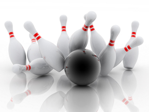 Bowling ball pins on white_Sm