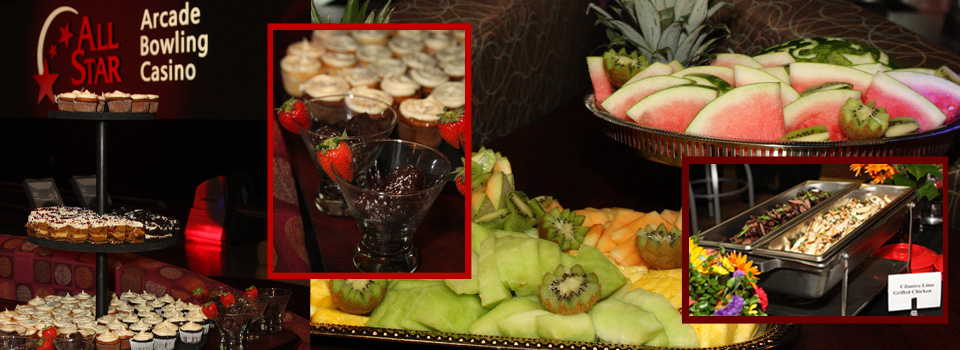 Lane-side buffets for group events at All Star Lanes
