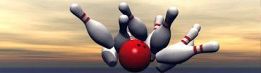 Bowling Pins against cloudy horizon