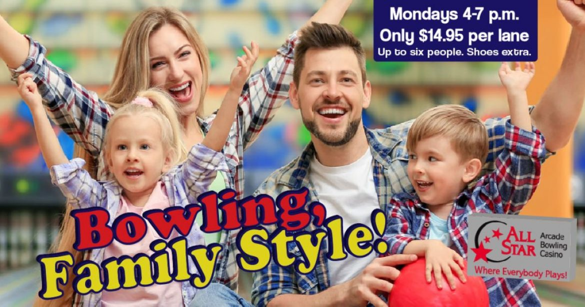 Young Family Cheering at Bowling Alley