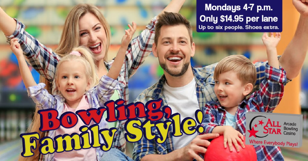 Bowling Family Style - Young Family Cheering at Bowling Alley