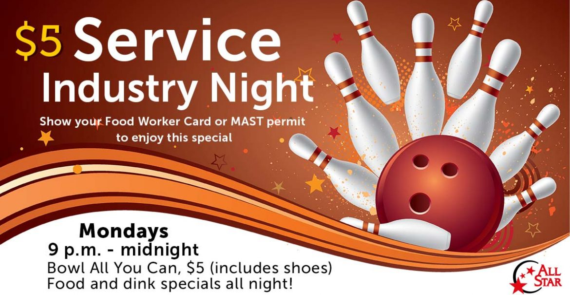 Bowling Ball and Pins $5 Service Industry Night Mondays