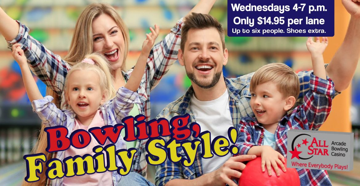 Happy Family Cheering at Bowling Alley